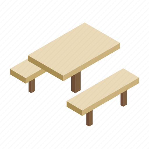 bench, garden, isometric, picnic, table, wood, wooden icon