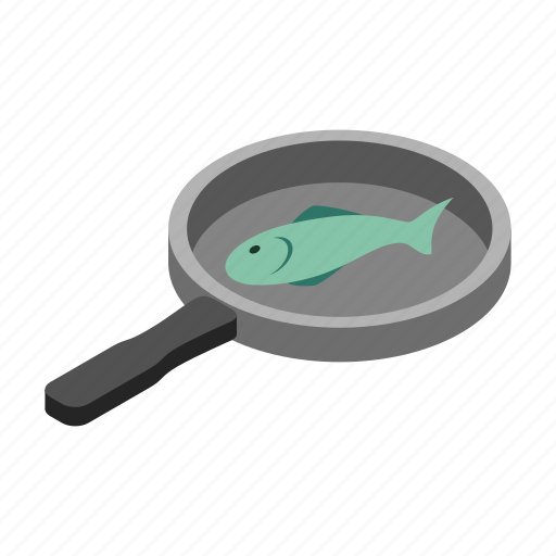 cooking, diet, dinner, eat, fish, isometric, pan icon