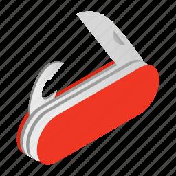 isoled, isometric, knife, penknife, pocket, steel, travel icon