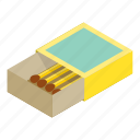box, flammable, isometric, match, matchbook, matchbox, matchstick icon