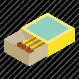 box, flammable, isometric, match, matchbook, matchbox, matchstick icon