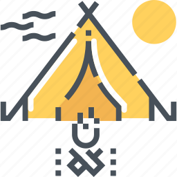 camp, camping, fire, forest, shelter, tent, woods icon