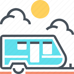 camping, car, caravan, house, transport, travel, wheels icon