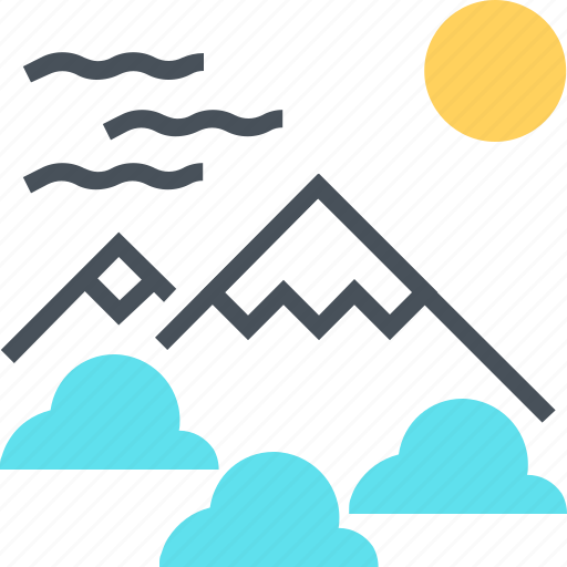 clouds, landscape, line, mountain, mountains, nature, travel icon