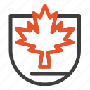 canada, leaf, security, shield icon