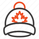canada, cap, hat, leaf icon