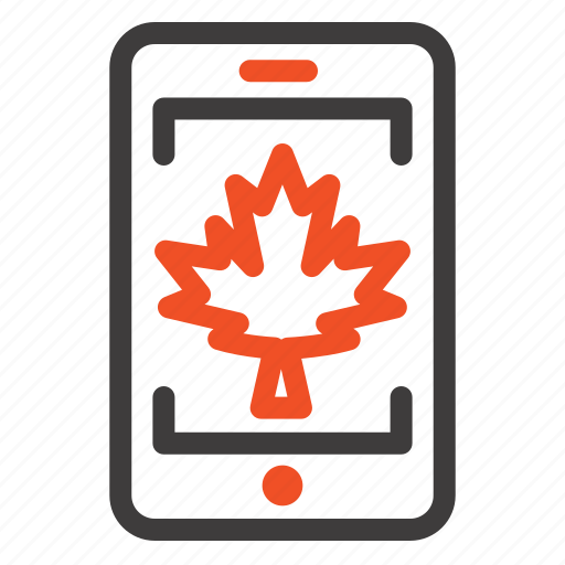 canada, cell, leaf, mobile icon