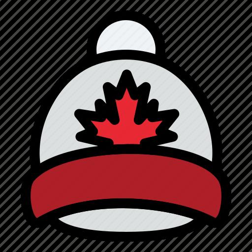 canada, cap, hat, leaf icon