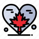 autumn, canada, heart, leaf, love icon