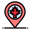 canada, leaf, location, map icon