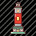 nautical, object, marine, lighthouse, sea, cartoon, ocean icon