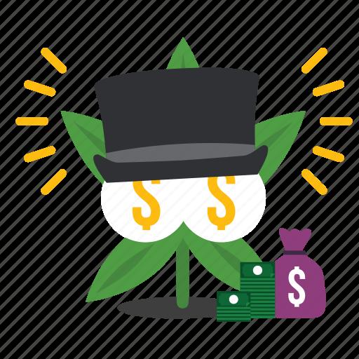 cannabis, fortune, marijuana, rich, weed icon