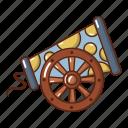 armament, cannon, cartoon, cast, iron, logo, object