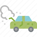broken, car, damage, engine, smoke, transportation icon