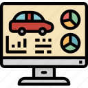 automobile, car, monitor, screen, transport, transportation, vehicle icon