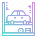 electronics, garage, lift, repair, repairing, tire icon