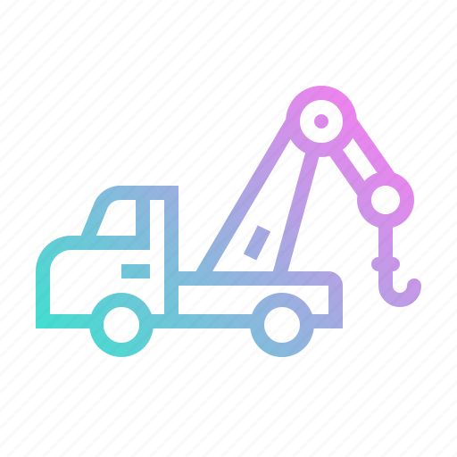 car, crane, logistics, service, transportation, truck icon