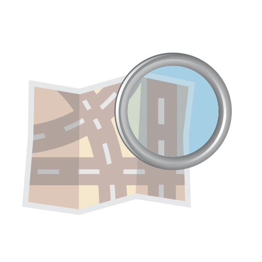 and, find, glass, magnifier, map, road, zoom icon
