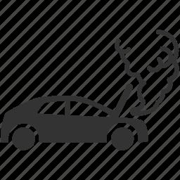 accident, broken, car, casualty, heat, mishap, smoke icon