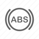 abs, alert, antilock, brake, car, dashboard icon