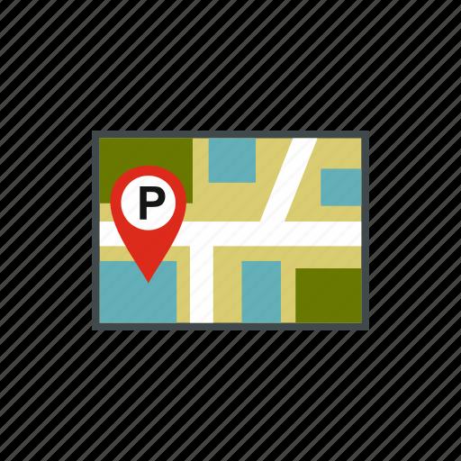 city, empty, jps, line, map, parking, vehicle icon