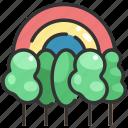 forest, jungle, nature, rainbow, trees, woodland, woods