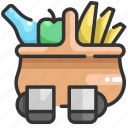 basket, camping, food, food basket, fruit, picnic icon