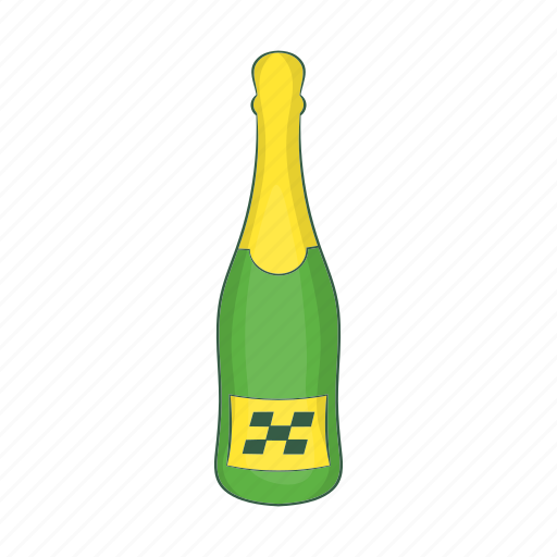 alcohol, bottle, cartoon, champagne, drink, gold, sign icon