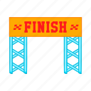 cartoon, competition, finish, gate, line, race, sign icon
