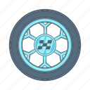 car, cartoon, racing, rubber, sign, tire, wheel icon