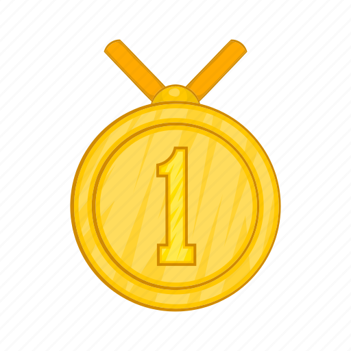 award, cartoon, first, gold, medal, place, sign icon