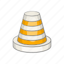 alert, cartoon, cone, construction, security, sign, traffic icon