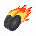 flame, hot, isometric, race, speed, vehicle, wheel icon