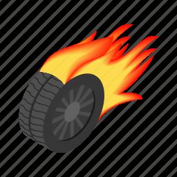 flame, hot, isometric, race, speed, vehicle, wheel icon