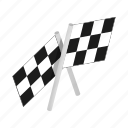 flag, isometric, race, sport, success, victory, winner icon