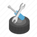isometric, race, repair, transport, tyre, vehicle, wheel icon