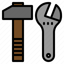 and, auto, automobile, car, garage, hammer, wrench icon
