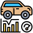 car, diagnostic, graph, mile, service, vehicle icon