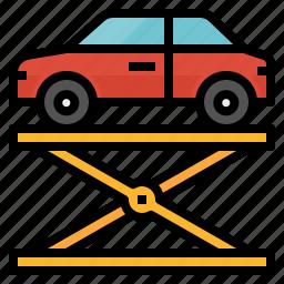 car, fixed, lift, repair, service icon
