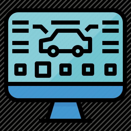 car, monitoring, program, repair, service icon