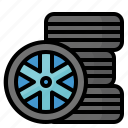 automobiles, rim, tire, wheel icon
