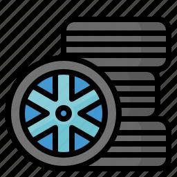 automobiles, rim, tire, wheel icon