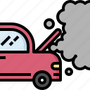 accident, automobile, broken, car, heat, service, smoke icon