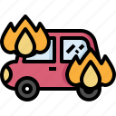 broken, burning, car, crash, insurance, repair, service icon