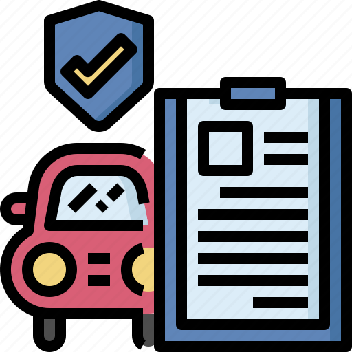 auto, automobile, car, document, insurance, protection, service icon