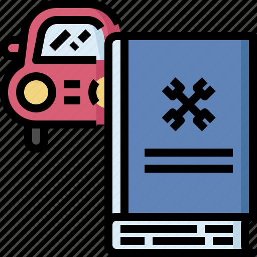 auto, automobile, book, car, fix, manual, service icon