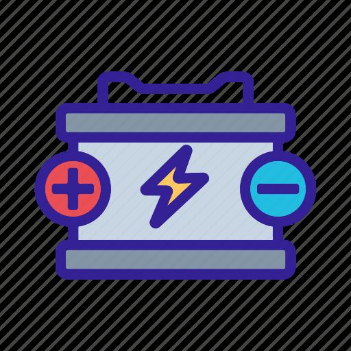 battery, car, detail, element, service icon