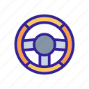 car, detail, service, steering, wheel icon