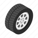 isometric, race, rim, tire, truck, tyre, wheel icon
