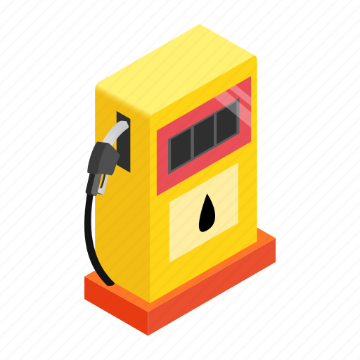 diesel, fossil, gas, isometric, nozzle, power, transportation icon